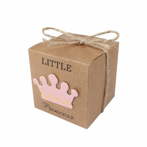 Image 5 - 5 sztuk śliczne księżniczka książę Kraft cukierkowa torebka na prezent pudełko płeć ujawnić Baby Shower chłopiec dziewczyna 1st dekoracja na roczek na rzecz