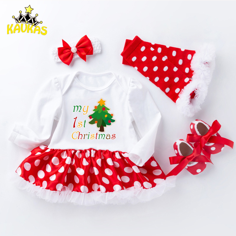 New child Christmas Garments Child Ladies Clothes Set My First Christmas Child Garments Set Ruffle Tutu Gown New Born Child Clothes