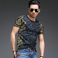 2017 Fashion Men's T Shirts 3D Printing Bronzing Summer Short Tees Casual Cotton Short Sleeve Luxury Men Brand T-shirt Tops Men