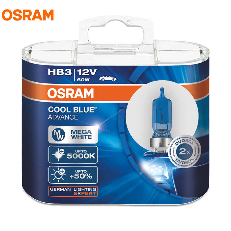 OSRAM Cool Blue Advance H1 H3 H4 H7 H9 H11 9005 9006 HB3 HB4 9003 12V 5000K Mega White Halogen Bulbs Car Headlight Fog Lamp, 2X