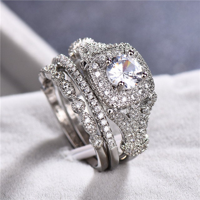Male Female Crystal Big Stone Ring Set Luxury 925 Silver Round Engagement Ring Vintage Bridal Wedding Rings For Women