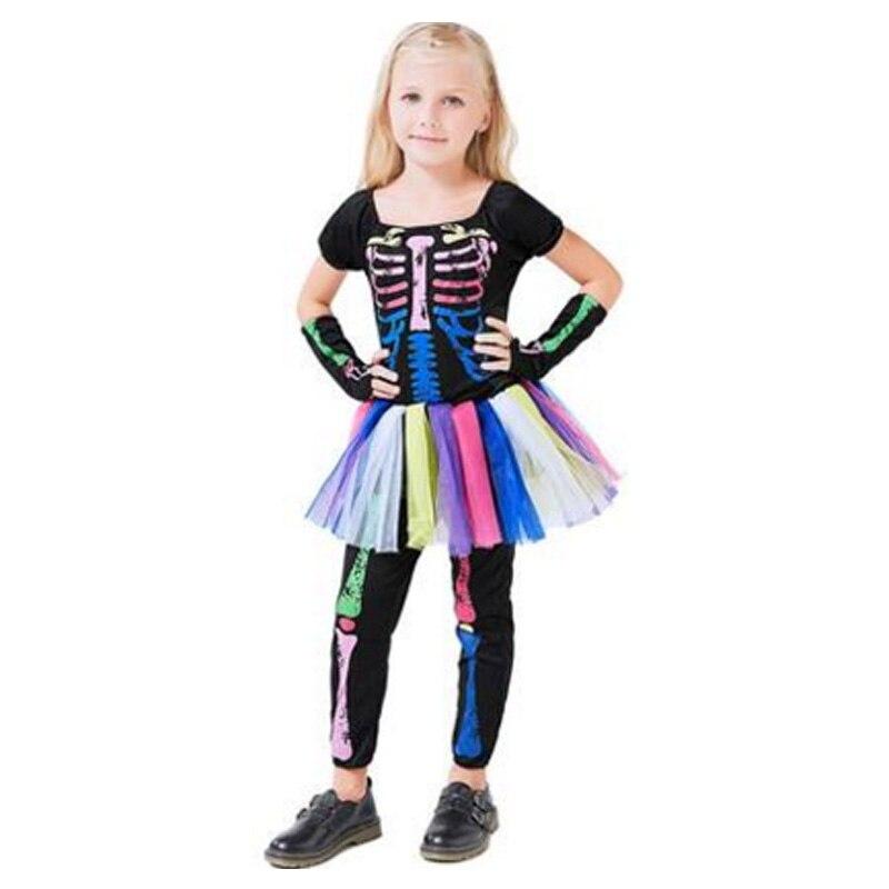 Girls Skeleton Bone Frame Jumpsuit Bodysuit Fancy Dead Halloween Cosplay Costume