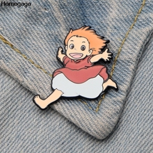 Homegaga Ponyo on the Cliff Zinc tie cartoon Funny Pins backpack clothes brooches for men women hat decoration badge medal D2038