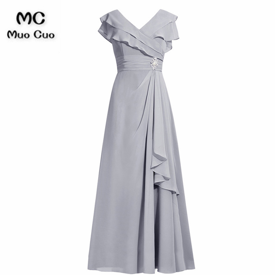 2018 Elegant Grey Mother of the Bride Dresses Cap Sleeves Ruches Short  Sleeves Chiffon mother of 6699a83484cc