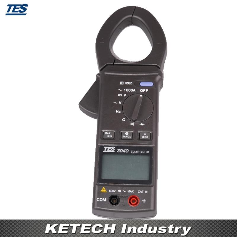 AC Clamp Meter Digital Multimeter Resistance Tester TES-3040 tes 1333 solar power meter digital radiation detector solar cell energy tester