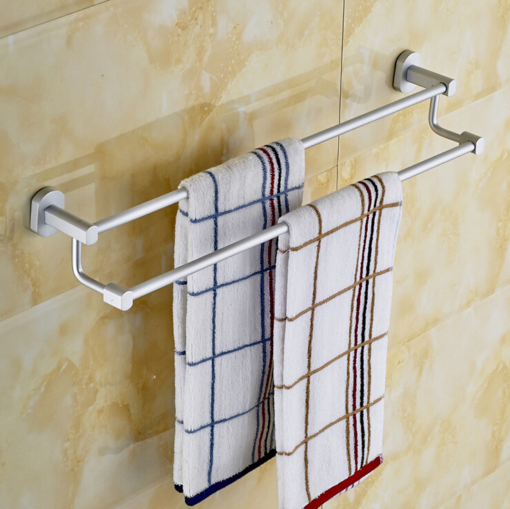 Bathroom accessory towel bar space aluminum double pole towel rack bathroom wall mounted towel - Towel racks for small spaces concept ...