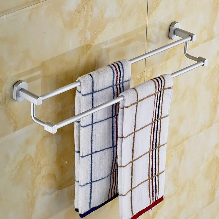 Bathroom Accessory Towel Bar Space Aluminum Double Pole Towel Rack Bathroom Wall Mounted Towel