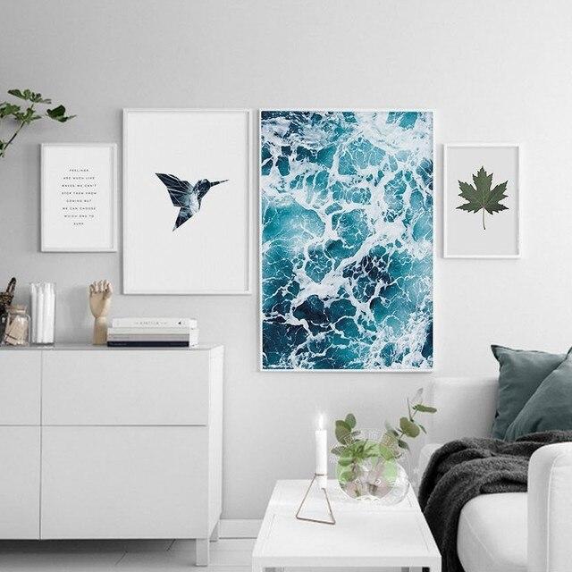 Nordic casa pittura decorativa mare e uccello tela pittura poster immagini a parete per - Poster camera da letto ...