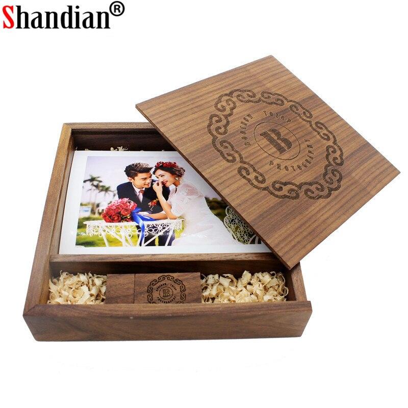 SHANDIAN(Free Logo ) Wooden Photo Album Box USB 2.0 Pendrive 4GB 16GB 62GB 64GB DIY Engraved Logo Wedding Memory 170*170*35mm
