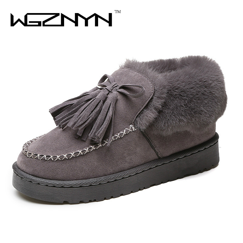 WGZNYN 2017 Snow Boots Winter Women Shoes Female Warm Hot Platform Winter Ankle Boots Fashion Shoes Black Gray winter women snow boots fashion footwear 2017 solid color female ankle boots for women shoes warm comfortable boots