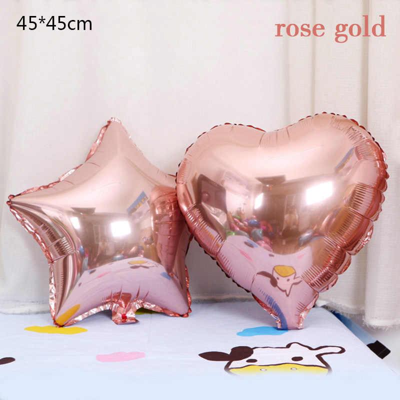 Nuevo 18 pulgadas de oro rosa estrella y corazón de aluminio globo fiesta de cumpleaños de los niños novia y novio globos de decoración de la boda