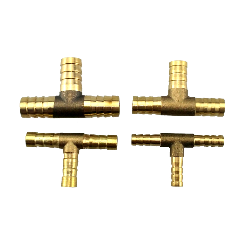 Brass Tee Barb Fitting T Type Hose Connector For Hose ID 6,8,10,12 14 16 Mm