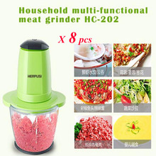 8pcs/lot Household Electric Meat Grinder Multi-Function Small Side Dish Blender Food Mixing Meat Grinders HC-202