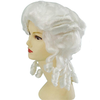 Baroque Curly White Colonial Female Lawyer Judge Deluxe Historical Costume Synthetic Cosplay Wig For Halloween