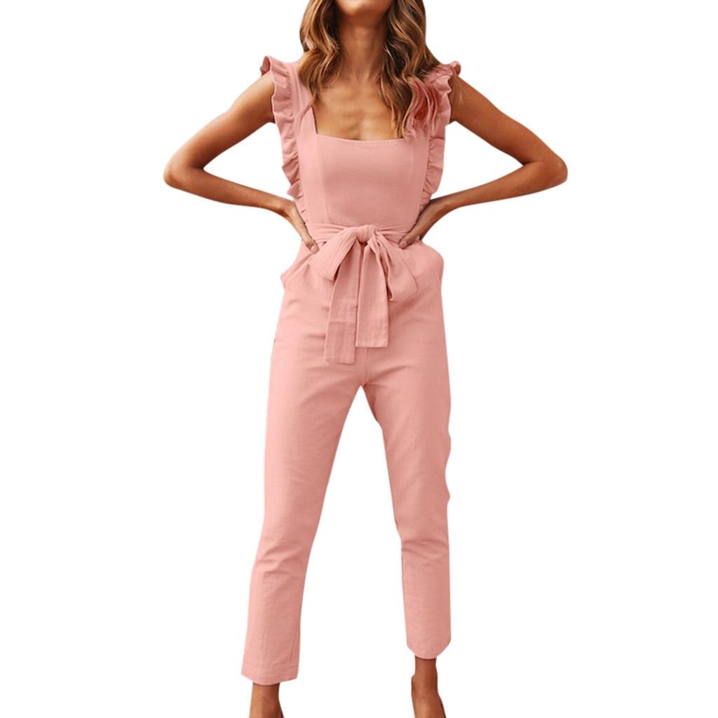 Women's Linen Ruffle Jumpsuits Summer Sleeveless Bow Badage Pocket Jumpsuit Loose Wide Leg Rompers Combinaison Femme #LR3