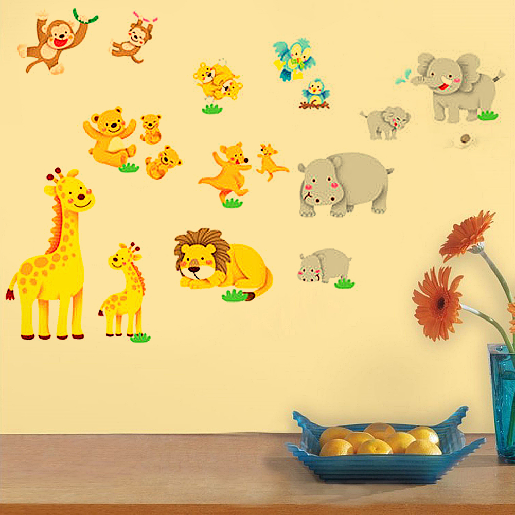 Wild Jungle Animals Cartoon Wall Sticker Environmental Friendly Wall ...