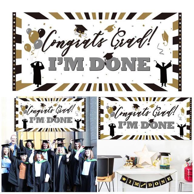 PE Plastic Congrats Grad I\u0027M DONE Sign Wall Banner Classic