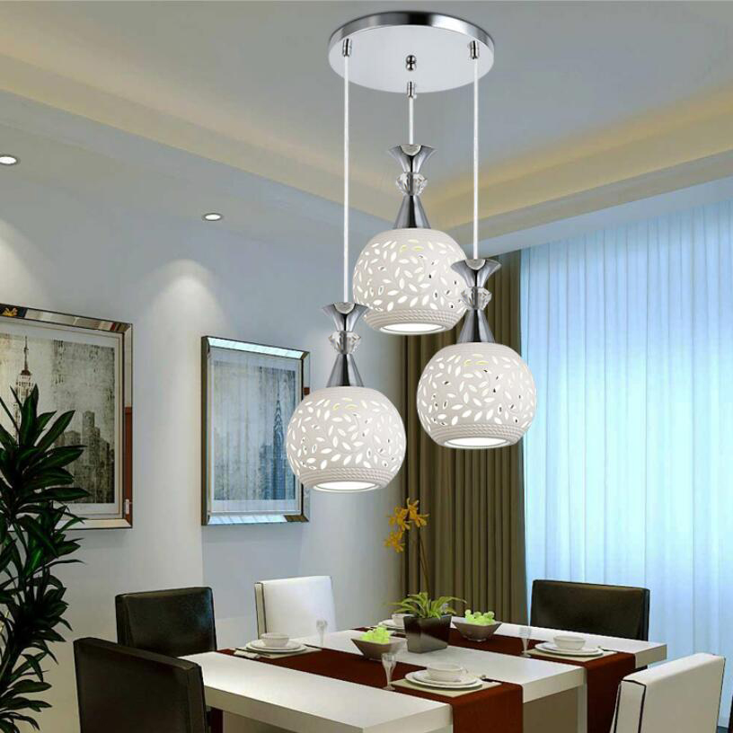 Modern LED 3 Heads Wrought Iron Ceramic Lampshade Pendant Lights Creative Personality Single Heads Restaurant Aisle Bedroom
