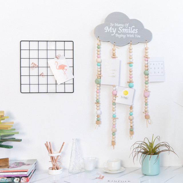 room decor gifts married cute hanging wall ornaments drop hollow cloud rain drops photo decor wooden beads garlands kids room