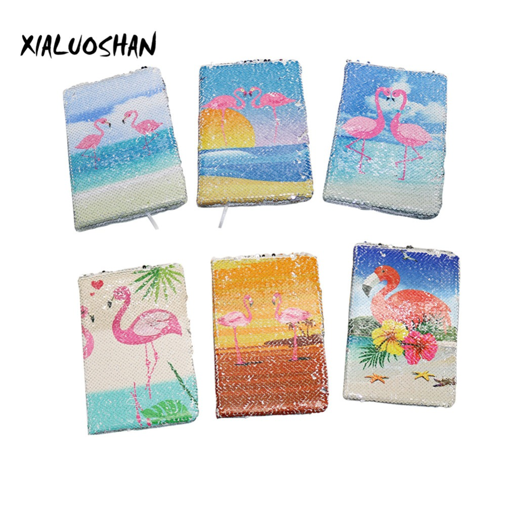 Flamingos Double-sided Sequins Notebook Summer Fresh Style High Quality New Brand Notebook Writing Tools Student Supplies