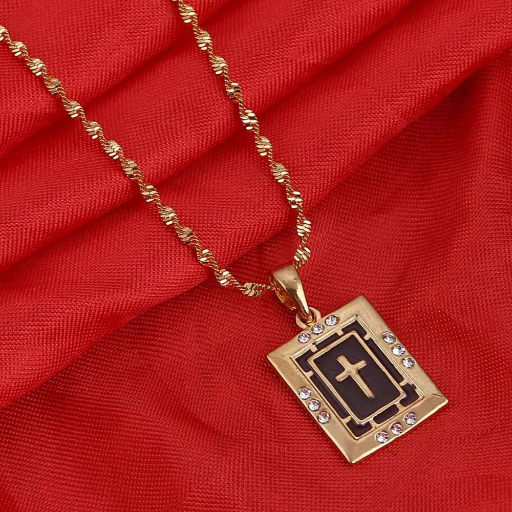 Gold Color Orthodox Christianity Church Eternal Cross Pendant Necklace Jewelry Russia Greece Ukraine