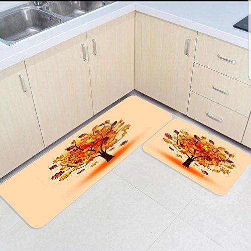 2 Piece Kitchen Mats And Rugs Set Autumn Fallen Leaves Home Deocr Non Skid Area Runner Doormats Carpet