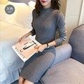 2016 Primavera Otoño Invierno Vestido de Las Mujeres Delgado S-line Estilo Medio Vestido de Punto Básico Sólido Medio Cuello Alto Vestido de Suéter