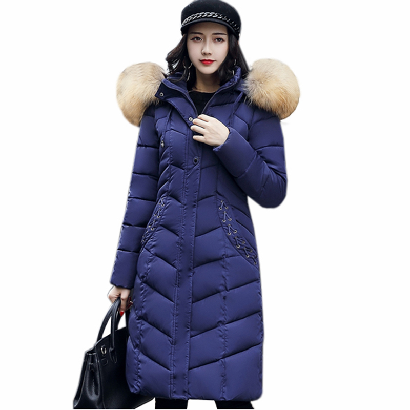 2017 New Fashion Women Long cotton Coats Size S-2XL Hooded collar Warm Parkas Winter Black navy Green Color Woman Parkas QH0449 2017 new fashion women long cotton coats size s 2xl hooded collar warm parkas winter black navy green color woman parkas qh0449
