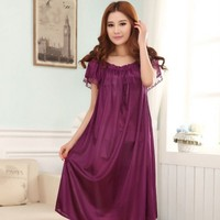 83 Free shipping Summer viscose sexy nightgown women's short sleeve plus size maternity 120 kg lace loose sleepwear