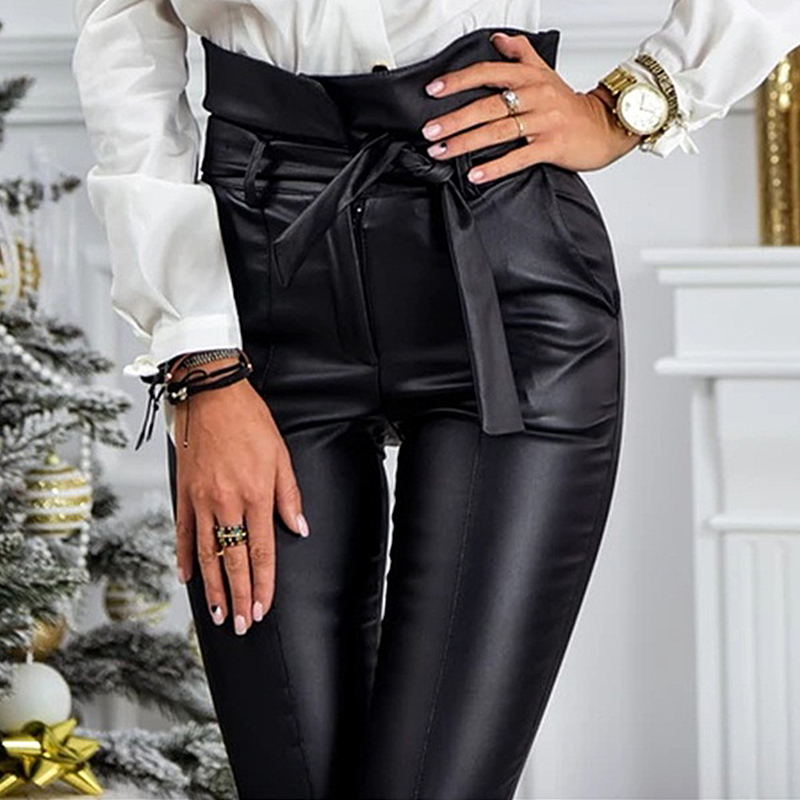 InstaHot Gold Black Belt High Waist Pencil Pant Women Faux Leather PU Sashes Long Trousers Casual Sexy Exclusive Design Fashion 15