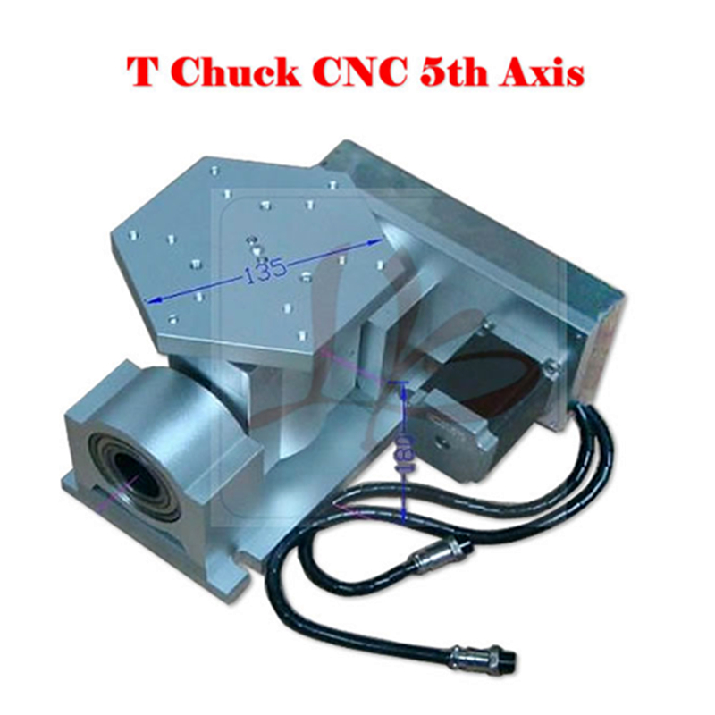 CNC 5 axis ( A aixs, Rotary axis ) T chuck type for cnc router milling machine