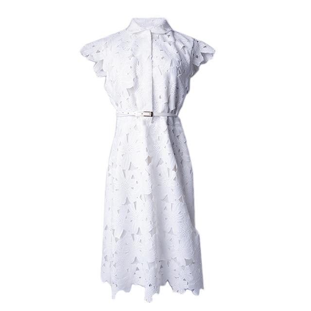 e4409886d9825 2018 Fashion European Women Elegant Brief Design Turn-down Collar HIGH  QUALITY White Lace Dress Plus Size XXXL Casual Dresses