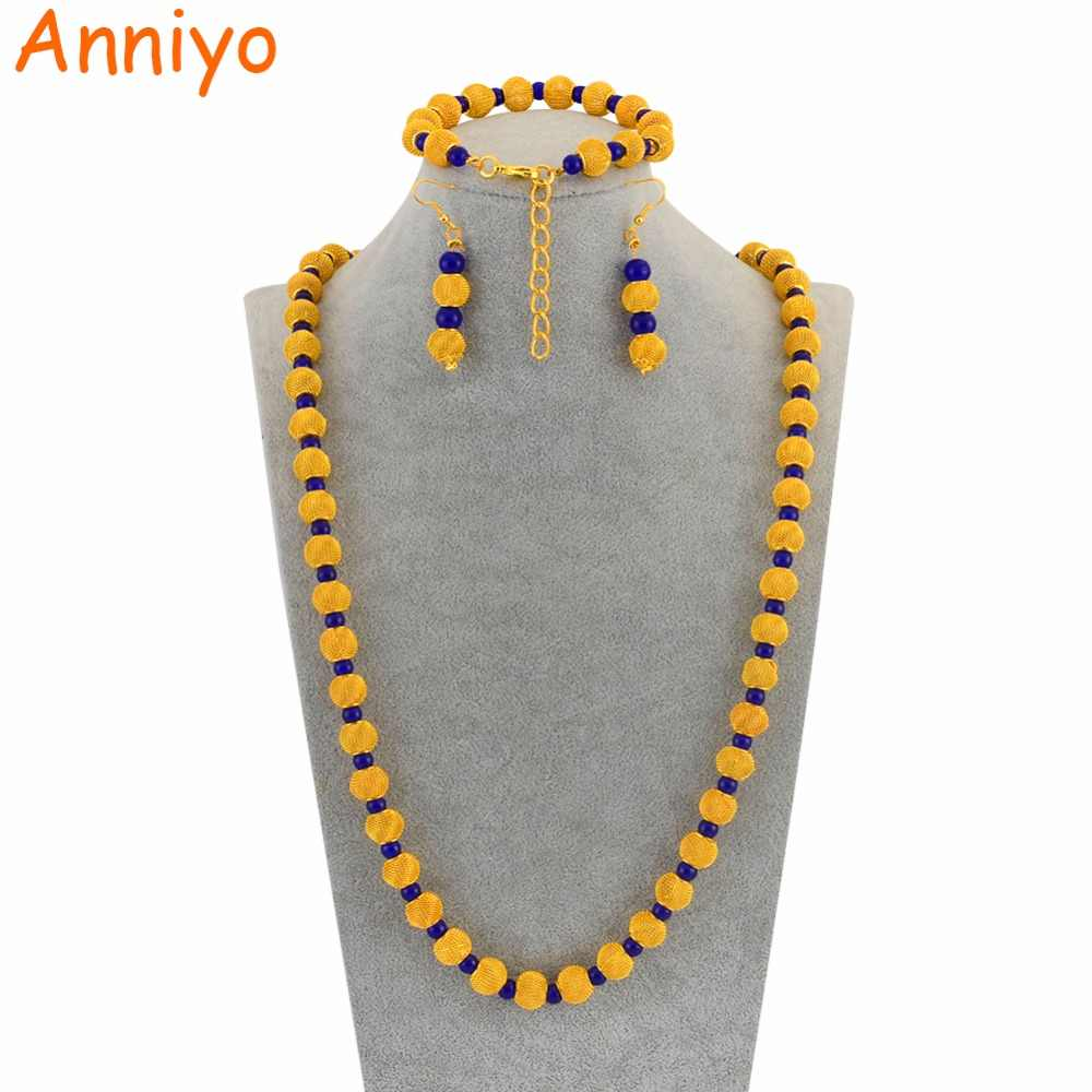 Anniyo 77cm Beads Necklace and 23cm Ball Bracelets Earrings for Women African Gold Color Rosary Beads Jewelry Party sets #124806
