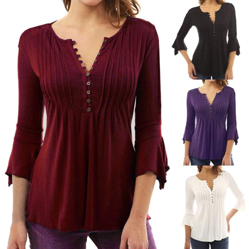 Fashion Women Ruffle 3/4 Sleeve T-shirt V-Neck Solid Buttons Casual Slim Fit Autumn Spring Basic Tops FS99