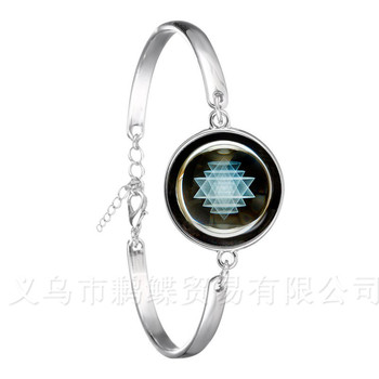 The Buddhism OM Symbol India Mandala Flower Bracelet Zen Picture 18mm Glass Cabochon Silver Plated Chain Bangle For Women Gift image