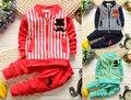 BibiCola Primavera Outono do bebê meninos roupas definir crianças de manga longa hoodies terno Do Esporte set crianças T shirt + calças 2 pcs roupas conjunto