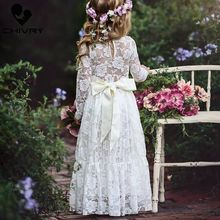 Chivry 2019 Girls Fashion White Lace Floral Long Sleeve Maxi Dress Baby Girl Clothes Wedding Party Princess with Bow Belt