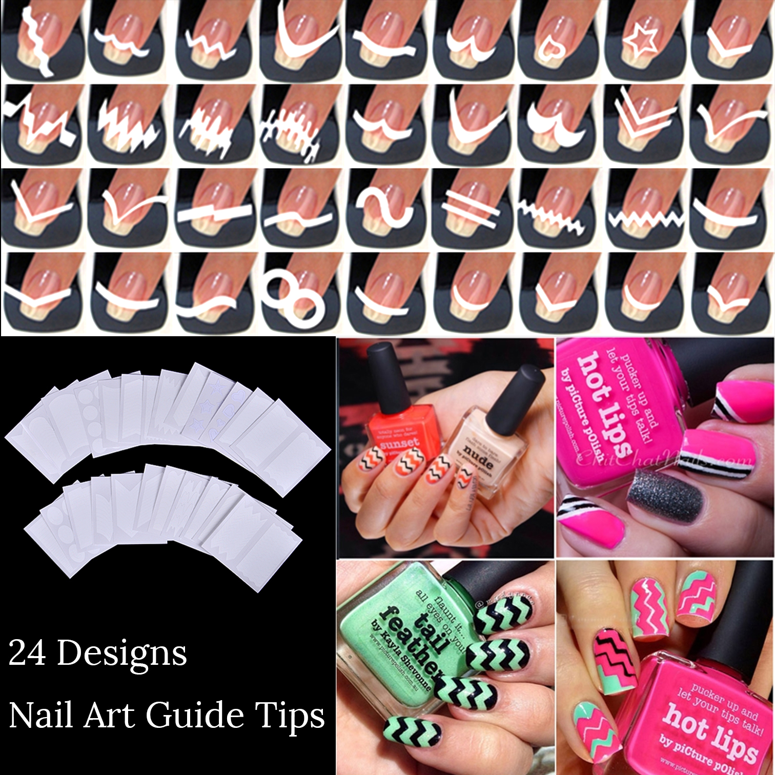 Online Shop 24 sheets/lot French Manicure DIY Nail Art Tips Guides ...