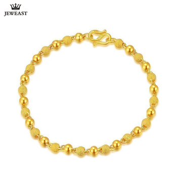 JLZB 24K Pure Gold Bracelet Real 999 Solid Gold Bangle Smart Fashion Frosted Bead Trendy Classic Fine Jewelry Hot Sell New 2020 1