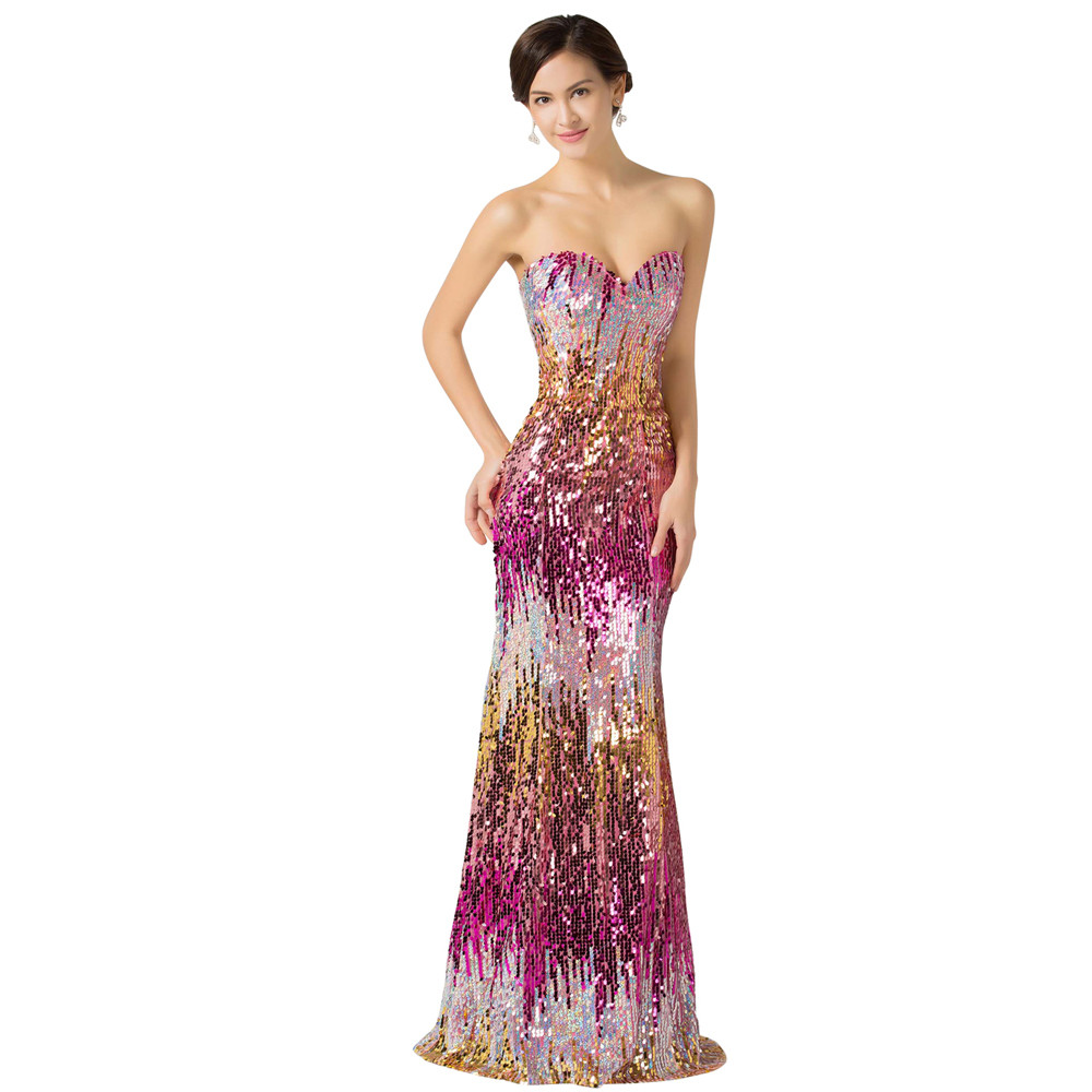 Sweetheart Colorful Sequins Lace Evening Dress 7