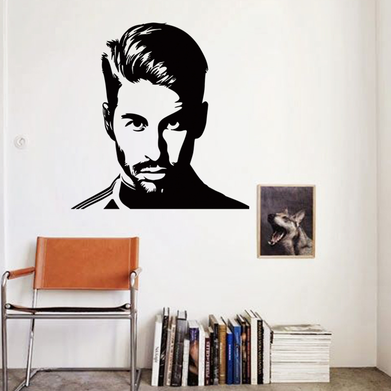 Art design cheap vinyl home decoration football Sergio Ramos wall sticker removable house decor soccer player wall decals