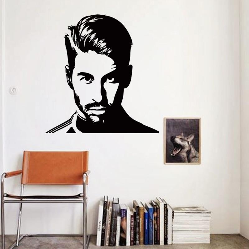 Kunstontwerp goedkope vinyl home decoration voetbal Sergio Ramos muursticker verwijderbare huisdecoratie voetballer muurstickers