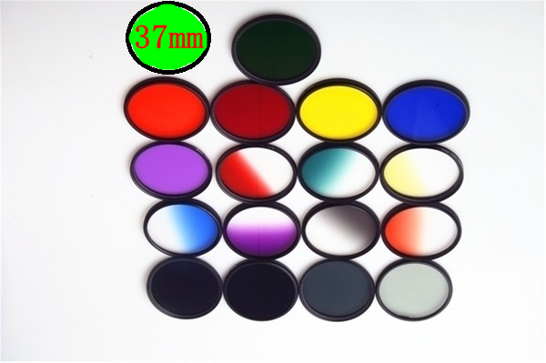 37mm Action Camera Graduated Filter Fulled Colors Lens Filter Screw Mount for Xi