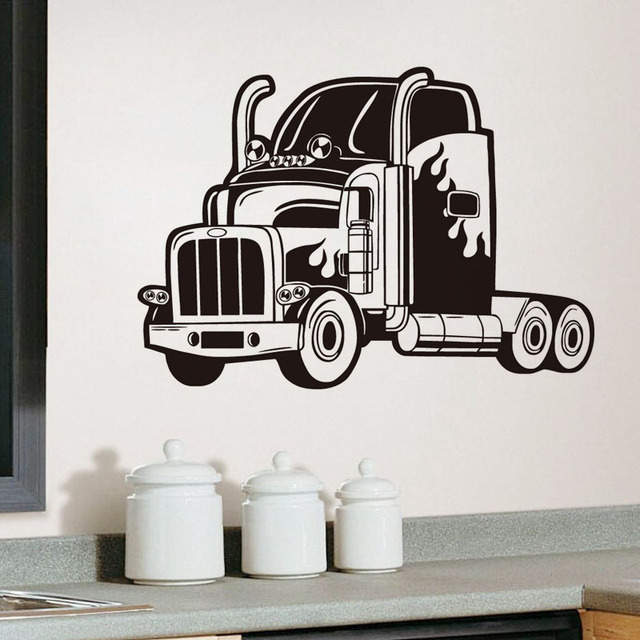 Semi Truck Vinyl Wall Sticker Long Vehicle Car Wall Decals For Kids Rooms  Home Decor Removable