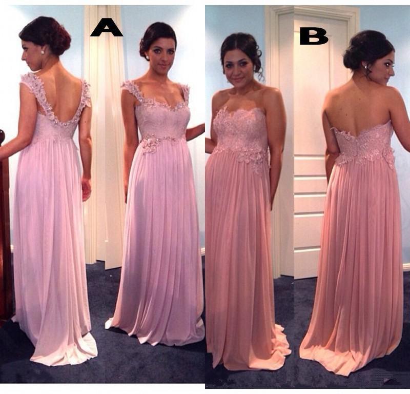Lace top long bridesmaid dress