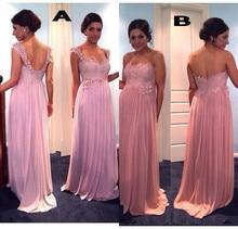New Hot Sale Lace Top Bridesmaid Dresses Long Chiffon Pleats Beads Appliques Cheap Bridesmaid Gowns Backless Plus Size B68