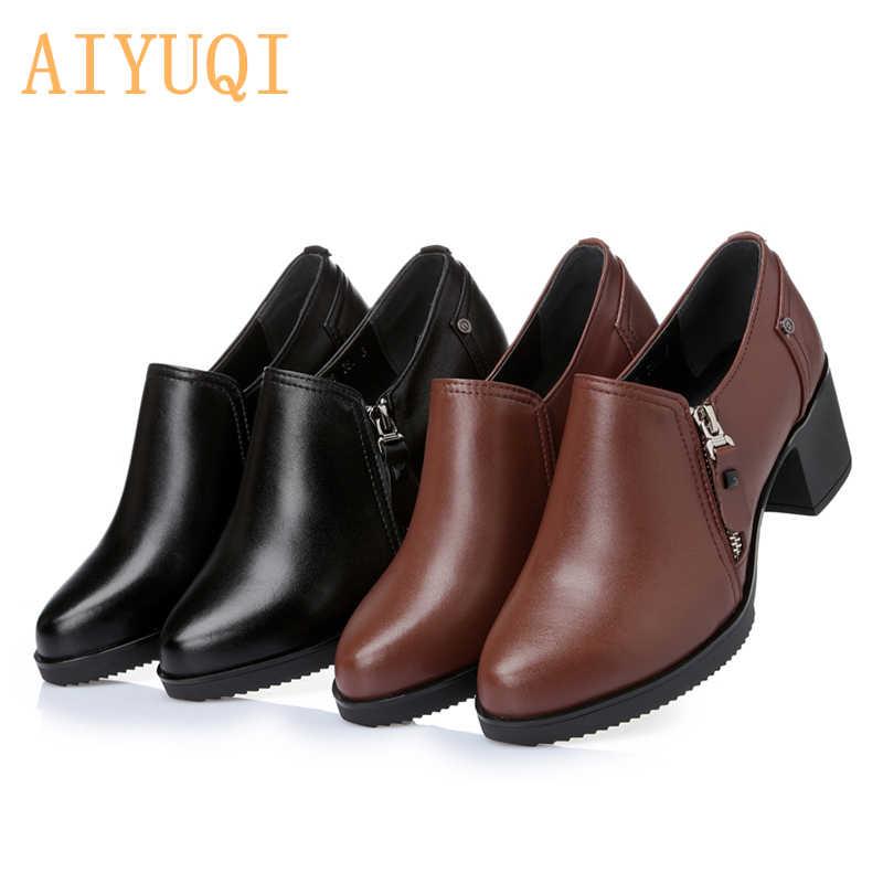 Женская обувь; водонепроницаемые женские туфли из натуральной кожи на высоком каблуке; модная женская повседневная обувь высокого качества