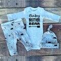 SY156 Otoño 2016 niños ropa de bebé ropa de bebé recién nacido romper + pantalón + sombrero 3 pcs. el juego del bebé ropa infantil conjunto