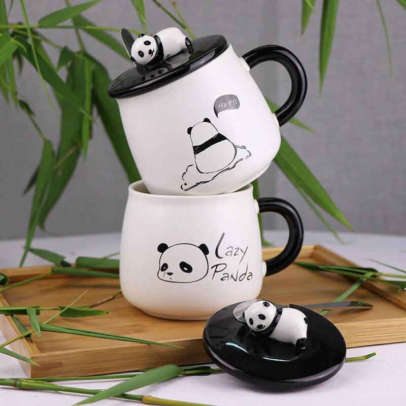 Cute Panda Mugs Cup Ceramic Personality Milk Mug with Lid Spoon Office Coffee Tumbler Creative Breakfast Cartoon Mugs Xmas Gifts