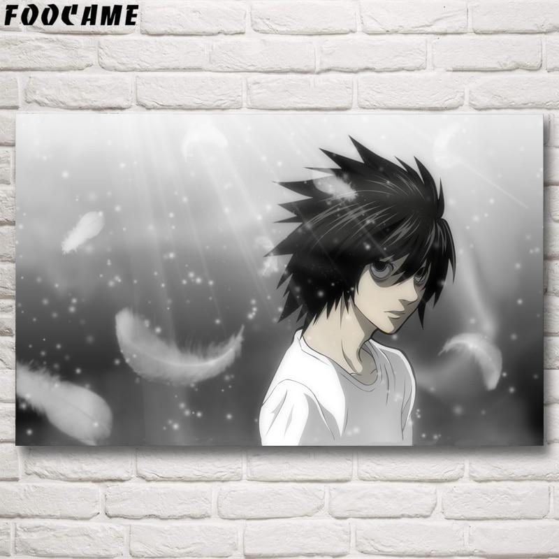 FOOCAME Death Note Anime japonés Carteles e impresiones Seda Decorativa Imágenes de pared Arte Sala de estar Decoración del hogar Pintura